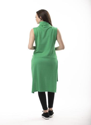 Stamina Saç Desenli Yanları Yırtmaçlı Kolsuz Tunik Yeşil